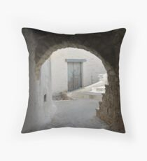 Old Greek village with white houses and blue door Throw Pillow