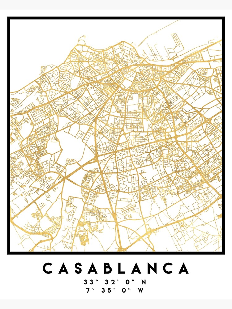 CASABLANCA MOROCCO CITY STREET MAP ART