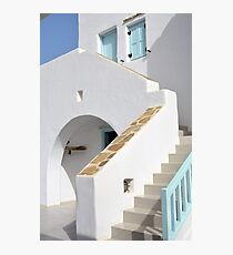 White architecture in Greece with blue elements Photographic Print