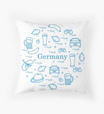 Vector illustration with various symbols of Germany arranged in a circle. Travel and leisure. Throw Pillow