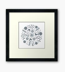 Stylized vector icon of variety scientific, education elements. Framed Print