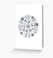 Stylized vector icon of variety scientific, education elements. Greeting Card