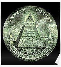 Eye of Providence, America, USA, Mystic, Dollar, Bill, Money, Freemasonry, All Seeing Eye, Pyramid, Masonic Poster