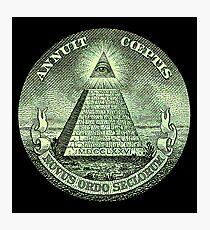 Eye of Providence, America, USA, Mystic, Dollar, Bill, Money, Freemasonry, All Seeing Eye, Pyramid, Masonic Photographic Print