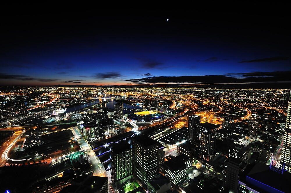 Moonrise over Melbournes west end by toosilver