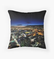 Moonrise over Melbournes west end Throw Pillow