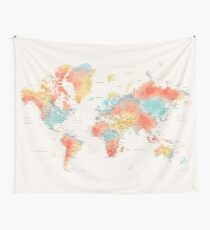 Colorful watercolor detailed world map Wall Tapestry