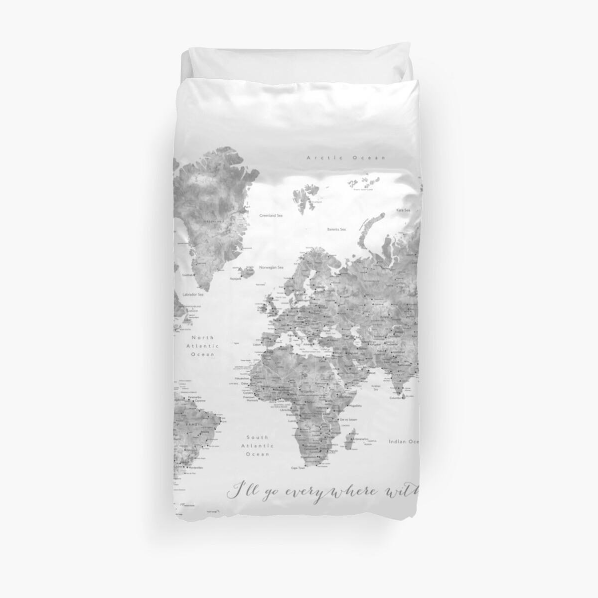 """Graue Aquarell detaillierte Weltkarte """"Überall mit dir"""" von blursbyai"""