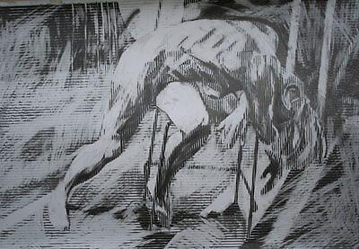 Slumped Figure(Lines) by Josh Bowe