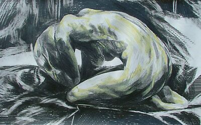 Crouching Clutching Figure(Squares) by Josh Bowe