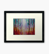 They Know - a semi abstract forest landscape with deer Framed Print