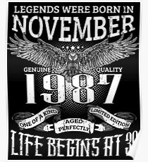 30th Birthday Gift Legends Were Born In November 1987 Poster