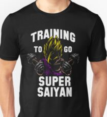 Training to go super saiyan gym workout weights lifting stronger harder better super power T-Shirt