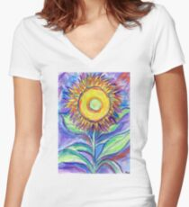 Flagler Beach Sunflower Women's Fitted V-Neck T-Shirt