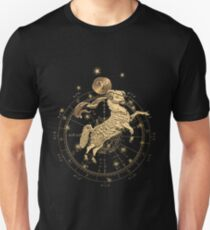 Western Zodiac - Golden Aries -The Ram on Black Canvas T-Shirt