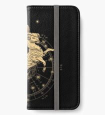Western Zodiac - Golden Aries -The Ram on Black Canvas iPhone Wallet/Case/Skin