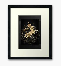 Western Zodiac - Golden Aries -The Ram on Black Canvas Framed Print