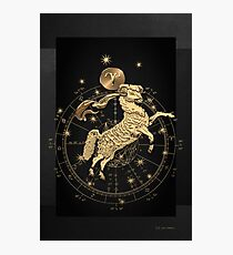 Western Zodiac - Golden Aries -The Ram on Black Canvas Photographic Print