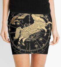 Western Zodiac - Golden Aries -The Ram on Black Canvas Mini Skirt