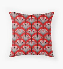 Art Deco Lily, Deep Red Throw Pillow