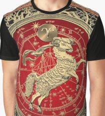 Western Zodiac - Golden Aries -The Ram on White Leather Graphic T-Shirt