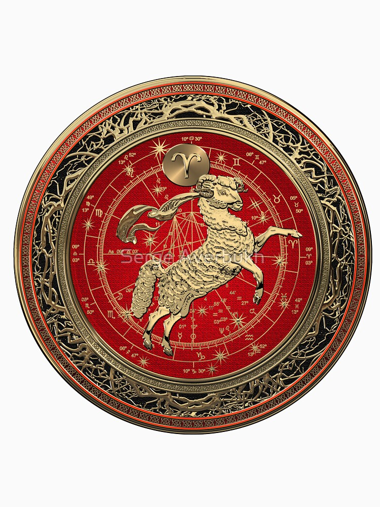 Western Zodiac - Golden Aries -The Ram on White Leather by Captain7