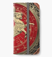 Western Zodiac - Golden Aries -The Ram on White Leather iPhone Wallet/Case/Skin