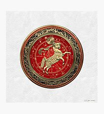 Western Zodiac - Golden Aries -The Ram on White Leather Photographic Print