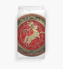 Western Zodiac - Golden Aries -The Ram on White Leather Duvet Cover