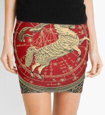 Western Zodiac - Golden Aries -The Ram on White Leather Mini Skirt