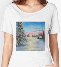 Winter Sunset Landscape Painting Women's Relaxed Fit T-Shirt
