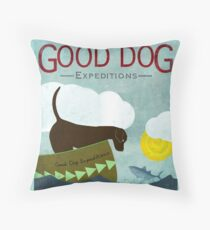 Good Dog Expeditions, dog on a lake meeting a fish Throw Pillow