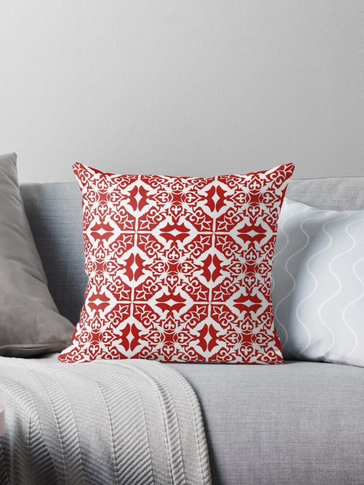 Moroccan Tile Dark Red And White Throw Pillows By Marymarice