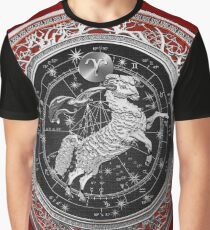 Western Zodiac - Golden Aries -The Ram on Red Velvet Graphic T-Shirt