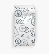 Seamless pattern with purses and dollar coins. Business and finance theme. Duvet Cover