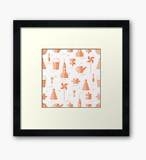 Vector pattern of different kids toys objects: rocket, puzzle, bucket, scoop, rake, watering can, pinwheel, pyramid, ball. Framed Print