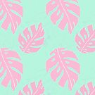 Pink and Mint Monstera Pattern by julieerindesign