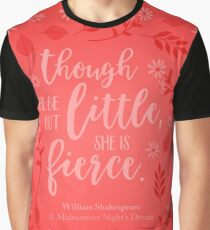 Floral Little But Fierce William Shakespeare Graphic T-Shirt