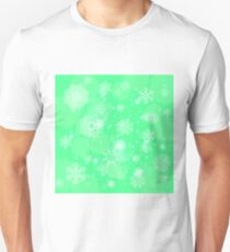Abstract Winter Snow Background. Abstract Green Winter Pattern.  Snowflakes Background T-Shirt
