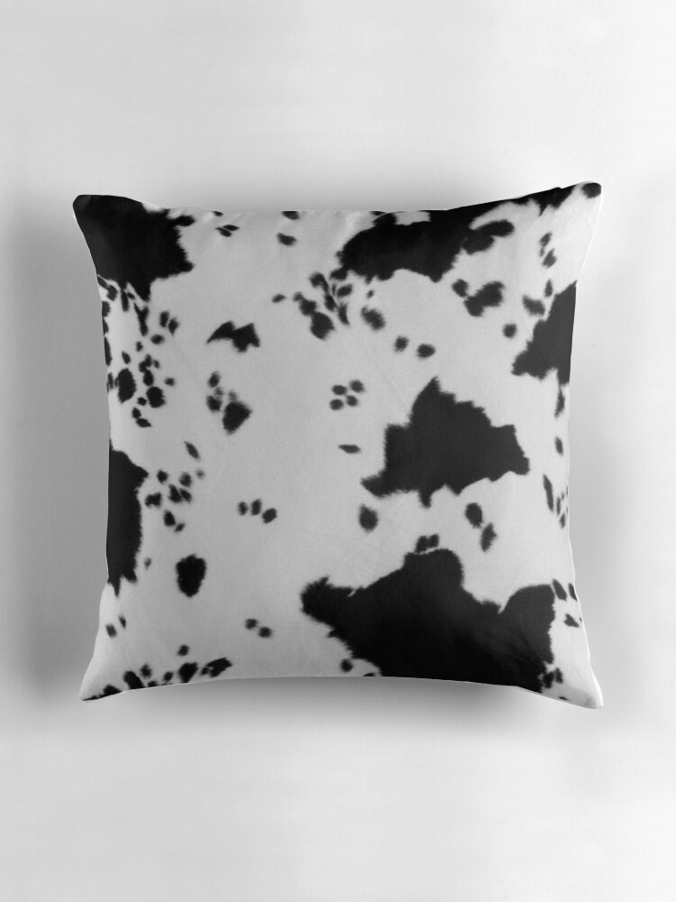 Quot Cowhide Black And White 2 Quot Throw Pillows By Gypsykiss