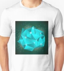 Polygonal Stone Isolated on Dark Background. Abstract Polygonal Pattern T-Shirt