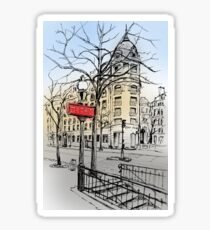 Street of Paris hand drawn colored ink sketch Sticker
