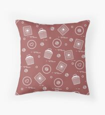 Cute seamless pattern with different romantic sweets. Love concept. Throw Pillow