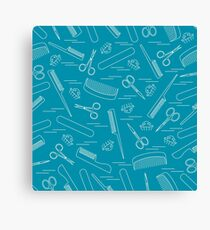 Cute pattern of scissors for manicure and pedicure, combs, nail file, barrettes.  Canvas Print
