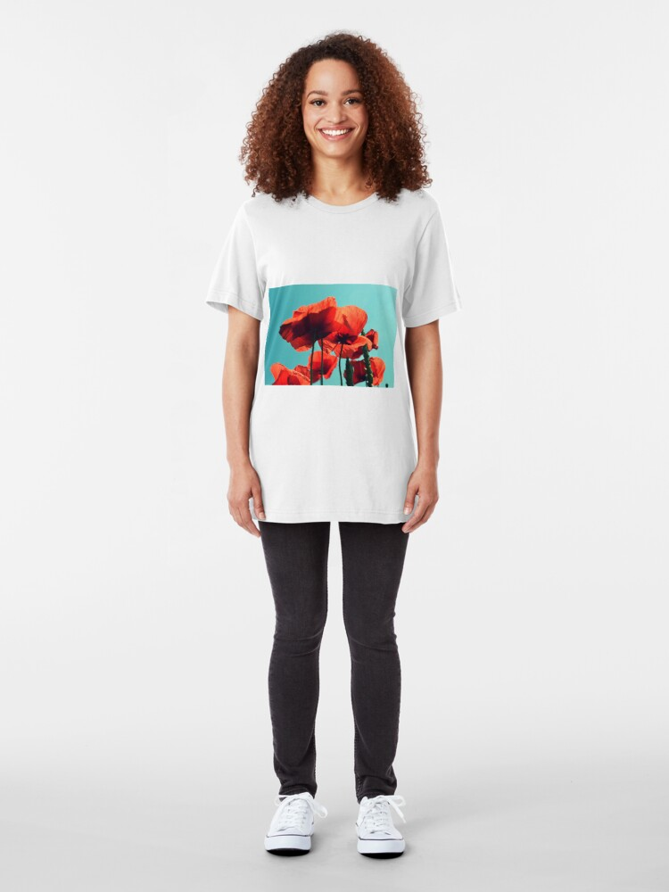 Alternate view of Red weed under the sky Slim Fit T-Shirt