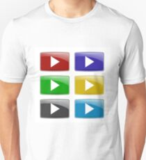 Set of Colorful Play Icons Isolated on White Background. Glossy Colored Play Buttons T-Shirt