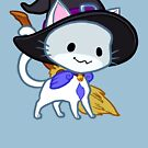 Halloween Chibi Winged Kitty - White Witch Cat by Julia Lichty