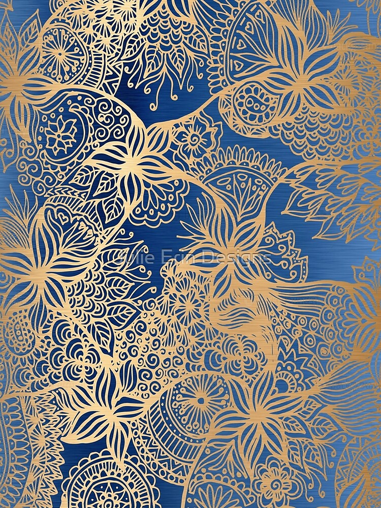 Blue and Gold Zen Doodles by julieerindesign