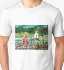 SAILBOAT ON BEAVER LAKE MONT ROYAL LOOKOUT CANADIAN LANDSCAPE SEASCAPE  PAINTINGS CAROLE SPANDAU FINE ART T-Shirt