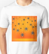 Set od Grey Spiders Fall Down on Soft Orange Background. Symbols of Halloween. T-Shirt